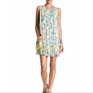 Daniel Rainn Ivory Floral Sleeveless Pleated Dress